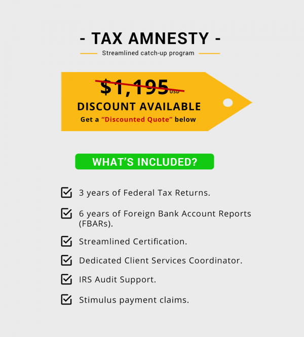 Streamlined Tax Amnesty Program Package